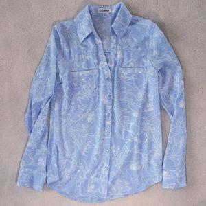 Express Portofino light blue floral print blouse